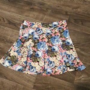 Boutique Silk Floral Mini Skirt